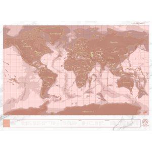 Carte du Monde à Gratter Or Rose